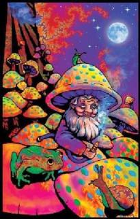 Mushroom Man Retro Art Velvet Flocked Blacklight Poster 23x35