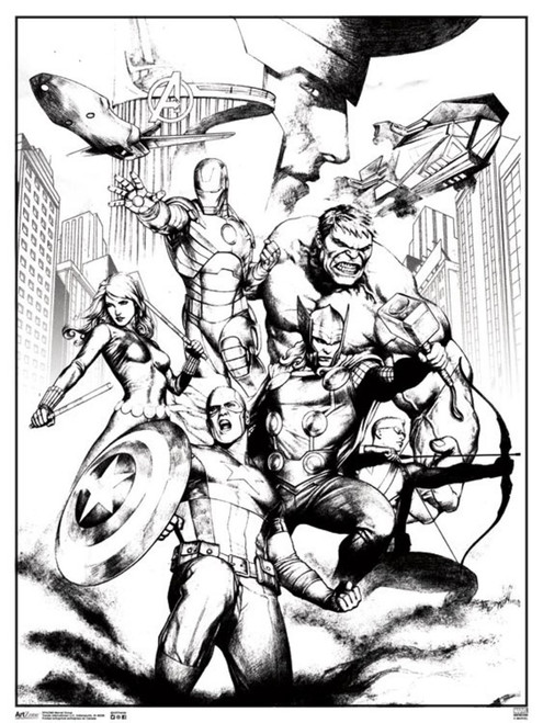 Marvel Avengers Group Comic Books Coloring Poster - Poster Foundry