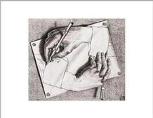 M.C. Escher Drawing Hands Poster - 14x11