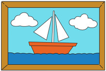Sailboat Painting Over The Couch Cartoon TV Show Mural Giant Poster 54x36 inch