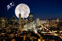Cow Jump Over Moon San Francisco California Photo Art Print Poster 36x24 inch