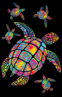 Turtle Blacklight Art Print Poster 24x36 inch