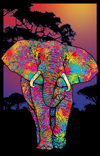Elephant Blacklight Art Print Image Poster 24x36