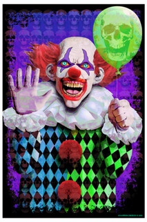 Evil Clown Scary Creepy Horrifying Psychedelic Trippy Blacklight Poster 23x35