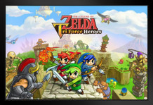 Legend Of Zelda Tri Force Heroes Nintendo High Fantasy Video Game Series Framed Poster 18x12