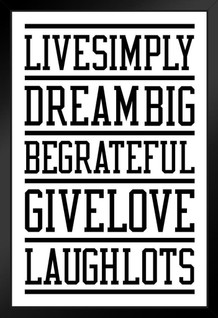 Live Simply Dream Big White Framed Poster by ProFrames 14x20 inch