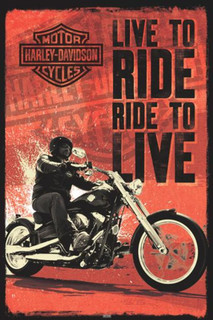 Harley Davidson Live to Ride Poster - 24x36