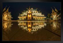 Amazing Buddhist Church Reflection Wat Pa Phu Gon Photo Art Print Framed Poster by ProFrames 20x14 inch
