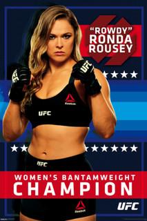 Rowdy Ronda Rousey Womens Bantamweight Champion UFC 190 Reebok Black Gear Stance Pose Poster - 24x36