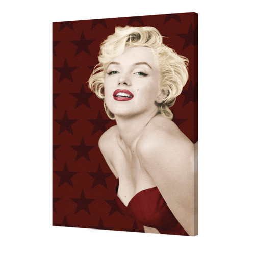 Marilyn Monroe Stars Background Red Lips Glamorous Hollywood Actress Sex Symbol Stretched Canvas Image 1