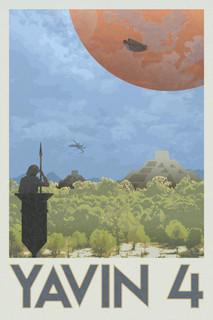 Laminated Yavin 4 Rebel Base Fantasy Travel Movie Sign Poster 12x18 inch