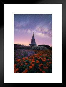 The Milky Way and Garden with Buddha Relics Photo Art Print Matted Framed Poster by ProFrames 20x26 inch