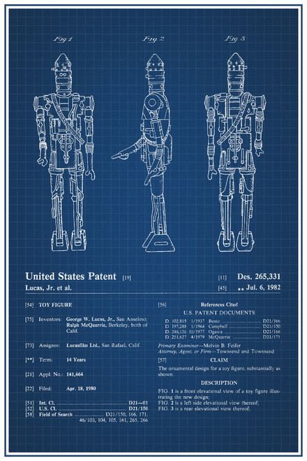 Ig88 Star Wars Movie Toy Official Patent Blueprint Poster