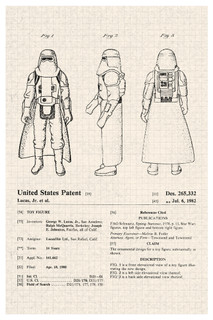Hoth Stormtrooper Star Wars Movie Official Patent Diagram Poster - 12x18