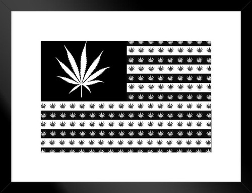 Marijuana Flag Leaves And Stripes Matted Framed Poster by ProFrames ...