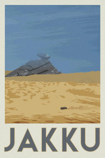Laminated Jakku Movie Fantasy Travel Sign Poster 12x18 inch