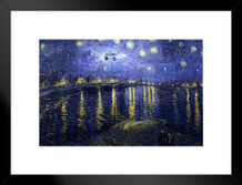 Time Machine on a Starry Night Vincent Van Gogh Art Humor Matted Framed Poster by ProFrames 20x26 inch