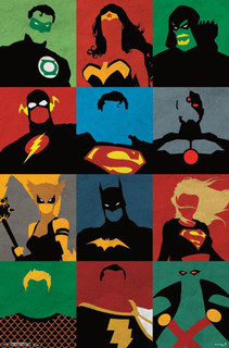 Justice League of America Minimalist Superheroes Comic Books Poster 22x34