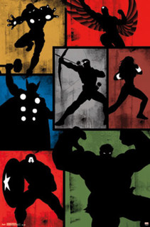 Avengers Simplistic Minimalist Grid Comic Book Art Print Poster 22x34