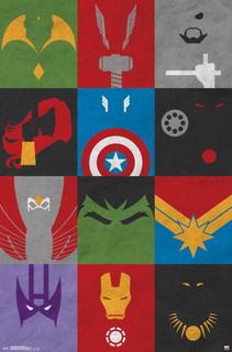 Avengers Superheroes Minimalist Grid Comic Books Poster 22x34