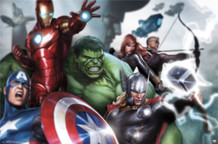 Avengers Assemble Heroes Comic Book Art Print Poster 34x22