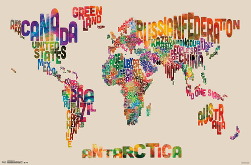 World map text colorful art print poster 22x34 poster foundry world map text colorful art print poster 22x34 image 1 gumiabroncs Images