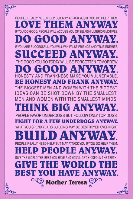 ... Mother Teresa Anyway Pink Quote Poster 12x18. Image 1