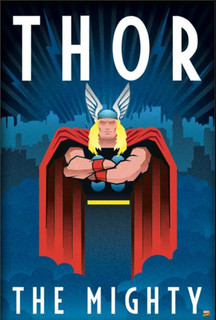 Thor The Mighty Art Deco Comic Book Poster 24x36