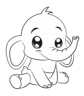 Ella the ABDL Elephant Coloring Book Page - FREE