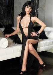 Dress Long Deep V Black Md/lg