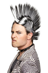 Mohawk Wig Black White