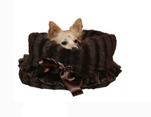 3-In-1 Reversible Brown Snuggle Bug functions as a pet bed, a car seat or a shoulder tote.