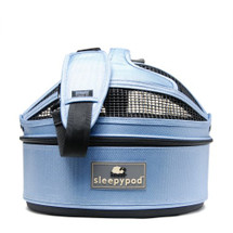 Sky Blue Mini Sleepypod Airline Approved Pet Carrier, Car Safety Seat, Bed features a built-in safety tether