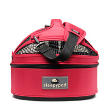 Blossom Pink Sleepypod Mini Airline Approved Pet Carrier provides superb ventilation and pet visibility via it's mesh windows