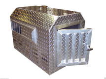 Diamond Plate Aluminum dog box features sliding side vents, insulated interior & top carry handle