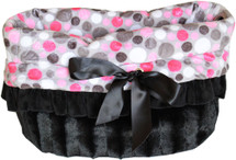 3-In-1 Reversible Pink Party Dots Snuggle Bug functions as a pet bed, a car seat or a shoulder tote