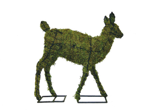 Mossed Fawn Garden Topiary Sculpture