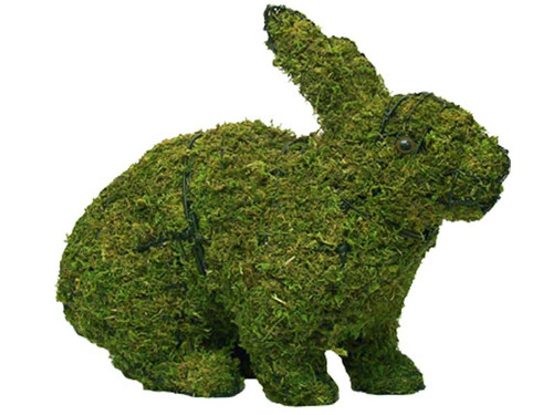 Mossed Hopping Rabbit Topiary Garden Sculpture