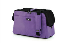 Violet Sleepypod Atom Airline Approved Pet Carrier has pockets on both sides and ends, padded, adjustable shoulder strap, built-in hand carry handle, integrated safety tether, and mesh windows for ventilation and visibility.