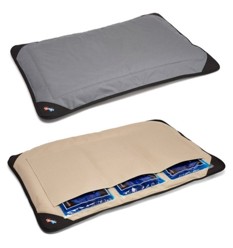 Cooling or Heated Therapeutic Dog Cat Pet Bed comes in grey or tan - shown in the large size that includes three reusable gel packs