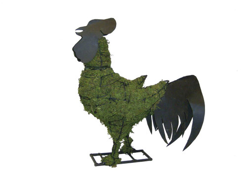Mossed Metal Rooster Topiary Garden Sculpture