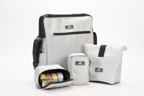 Silver Crossbody Computer, Lunch, Dog Park Pet Travel Bag