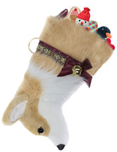 "Corgi Christmas Holiday Dog Stocking features lush faux fur, black eye & nose & measures 19"" long, allowing you to fill it to the brim with toys, treats & special surprises.  Toys shown are NOT included."