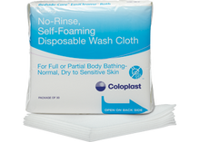 Coloplast Bedside-Care EasiCleanse Bathing Cloths. No Rinse Self Sudsing Disposable Washcloth