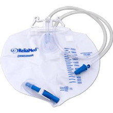 ReliaMed Standard Vented Drainage Bag with Double Hanger Anti-Reflux Valve 2,000 mL