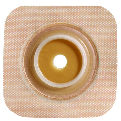 "125262 1-1/4"" Flange Size - ConvaTec SUR-FIT Natura Stomahesive Skin Barrier with Cut-to-Fit Opening and Tan Tape Collar (overall dimension 4"" x 4"")"