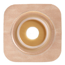 "SUR-FIT Natura Stomahesive Flexible Skin Barrier with Precut Openings with 45mm 1-3/4"") Flange with Tan tape collar (overall dimensions 4"" x 4"")"