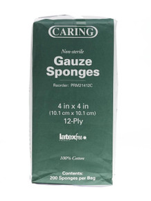 CARING 4x4, 12 Ply Gauze Sponges