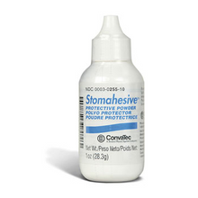 Stomahesive protective powder by ConvaTec 25510 is available in a one ounce puff bottle.  Dust onto skin around the stoma before applying ostomy pouch system.