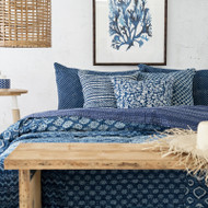 Indigo Patchwork Hand Block Printed Kantha Quilt | Peacocks and Paisleys
